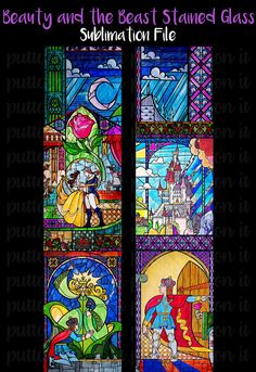Beauty and the Beast Stained Glass Sublimation Cheer Bow Strips Download by PuttaBowOnIt on Etsy
