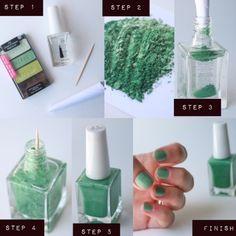 DIY: eye shadow makes nail polish. Just take any color eye shadow and put it into a clear coat nail polish and the mix up!