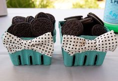 bowties on fruit crates with oreos as party favors