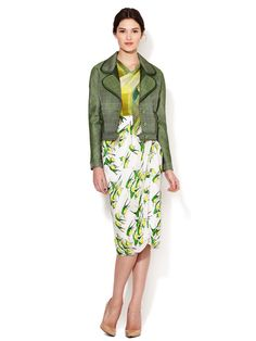 Silk Sparrow Print Draped Wrap Skirt by Carolina Herrera at Gilt