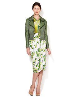 Silk Sparrow Print Draped Wrap Skirt by Carolina Herrera at Gilt