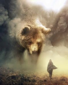 """Australian digital artist Eben (a. """"ebenism"""") used his digital manipulation skills to create a wonderful collection of photos that imagine a beautiful world where giant animals coexist with tiny humans. Bear Spirit Animal, Spirit Bear, Giant Animals, Cute Animals, Art D'ours, Bear Art, Brown Bear, Black Bear, Photo Manipulation"""