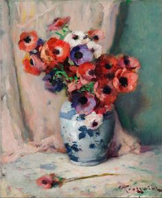 The Athenaeum - Anemones in a vase (Fernand Toussaint - No dates listed)