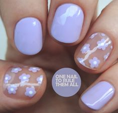 Nail To Rule Them All: Lilac Negative Space Flowers , . One Nail To Rule Them All: Lilac Negative Space Flowers , One Nail To Rule Them All: Lilac Negative Space Flowers , Funky Nails, Trendy Nails, Cute Nails, My Nails, Funky Nail Art, Stylish Nails, Summer Acrylic Nails, Best Acrylic Nails, Acrylic Nail Designs