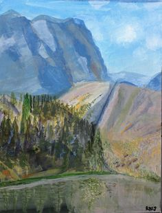 Wyoming Mountain Landscape by PanuszkaPaintings on Etsy