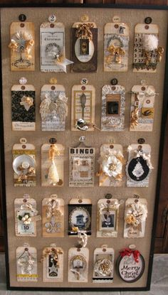 Advent calendar made from vintage tags and ephemera. Great idea, and looks prettier than that cardboard one your kids want. Noel Christmas, Vintage Christmas, Christmas Crafts, Christmas Decorations, Nordic Christmas, Christmas Candles, Modern Christmas, Christmas Countdown, Card Tags