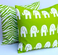 Pillow Covers Bright Green Animal Nursery by FestiveHomeDecor, $32.00