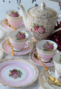 We have the finest vintage china tea sets and all accessories available to hire in Perth for luxury high teas, weddings, baby and bridal showers. Vintage China, Vintage Tea, Pink Cups, China Tea Sets, Tea Service, Chocolate Pots, Coffee Set, Tea Cup Saucer, High Tea
