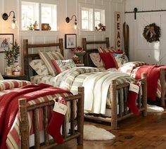 The Story Behind Our New Log Bed from Pottery Barn. Great bed for a lake house or cabin bunk room. Christmas Wonderland, Christmas Bedding, Christmas Home, Pottery Barn Christmas, Christmas Music, Rustic Christmas, Simple Christmas, Merry Christmas, Cottage Christmas