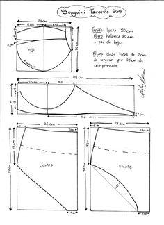 Esquema de modelagem de Biquini Retrô tipo Sunquini tamanho EGG.