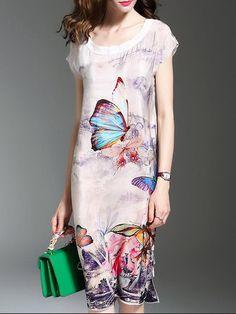 Shop Midi Dresses - Multicolor Silk Casual Sheath Crew Neck Midi Dress online. Discover unique designers fashion at StyleWe.com.