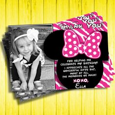 Minnie Mouse Birthday Thank You Cards with by KennedyLaneDesigns, $8.00