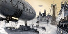 Image detail for -Paris at the 20th Century Picture (2d, dirigible, steampunk, fantasy)