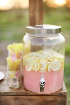 Pink lemonade with the lemons still floating in it just brings it up a notch till party level