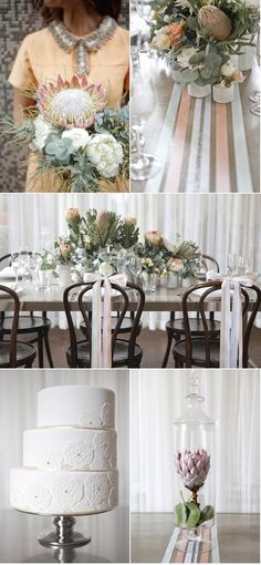 Mod Brunch Inspiration Shoot by White Room Events – Style Me Pretty Cute Wedding Dress, Fall Wedding Dresses, Colored Wedding Dresses, Floral Wedding, Perfect Wedding, Wedding Flowers, Protea Wedding, Wedding Events, Our Wedding