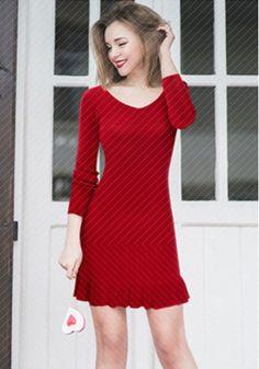 Woolen Knitted Dress with Pleat Hem https://www.maxfancy.com