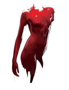 "John Ross ""life blood""...slick shiny bloody red body paint...artist name sounds like Dallas series bad boy of J.R. ; )"