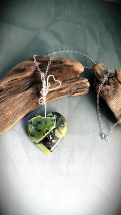 Jasper Heart Necklace, Olivine Pyrite Pendant Sterling Silver by SimpleGem. This necklace would make a unique Valentine's Day gift.