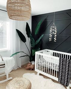 Black and White Nursery with Accent Wall - 14 Nursery Trends and Children's Design Ideas to Watch for 2020 - Project Nursery Baby Nursery Decor, Project Nursery, Nursery Neutral, Nursery Room, Nursery Ideas, Accent Wall Nursery, Room Ideas, Girl Nursery, Boho Nursery
