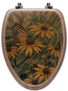 Monarch Butterfly Oak Elongated Toilet Seat
