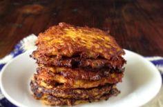 Sweet Potato Pancakes (latkes) | Turn a traditional potato latke into a sweet potato pancake. @peggigell