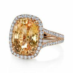 Omi Prive: Peach Sapphire and Diamond Ring Style: RC1230-FSCU