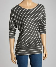 Take a look at this Charcoal & Gray Diagonal Stripe Top by Zenana on #zulily today!  $9.99!!!!!