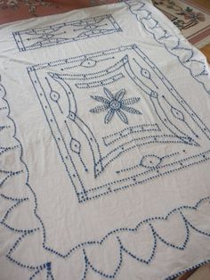 Chenille Cutter Bedspread hand tufted cornflower blue by brixiana