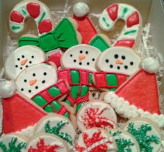 Christmas decorated cookies Made for Mom 2012, snowmen inspired by Sweet Adventures of Sugarbelle tutorial.