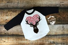 Deer with Hearts, Valentines Day Shirts, Cupid, Valentines Day, American Apparel, Raglan, Boy, Girl, Baby, Unisex clothing by RagTine on Etsy