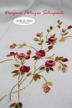 Elisabetta ricami a mano: Patrizia & me... La tenda Hand Embroidery, Curtains, Design, Flowers, Blinds, Draping, Picture Window Treatments, Window Treatments