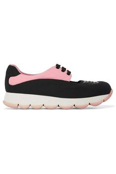 Prada | Cutout leather-trimmed neoprene sneakers | NET-A-PORTER.COM
