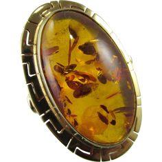 Vintage 14K 22mm Genuine Oval Baltic Amber Ring