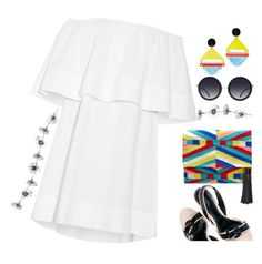 """White Dress with Color"" by petalp ❤ liked on Polyvore featuring Apiece Apart, Rebecca Minkoff, Toolally, Alice + Olivia, dress and ootd"