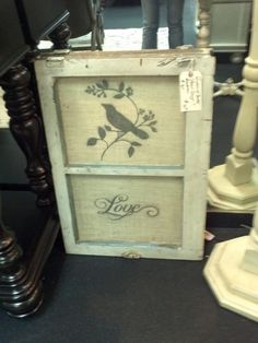 Old Window Frame AND Stenciled Burlap