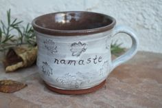 Namaste Cup handmade ceramic teacup with lotus flowers pottery coffee cup white and brown mug teacups yoga cup inspirational spiritual gifts by ManuelaMarinoCeramic on Etsy