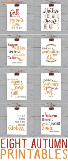 Eight Fall Printable Quotes | Download and print this big bundle of eight autumn quotes. Gorgeous fall decor for the home!