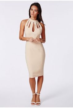 Do it in the nude! This nude coloured beauty will be the pride of your evening wear collection. In a crepe touch fabric with a high neck and cut out detail, this tailored bodycon midi dress with a concealed centre-back zip is pure luxury. S...