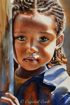 ACEO print watercolor portrait African child painting solemn little girl limited edition. $8.00, via Etsy.
