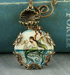 Blue Mermaid Necklace Seahorse Necklace Mermaid Pendant Beach Necklace Oyster Brass Filigree Vintage Mermaid Seashell