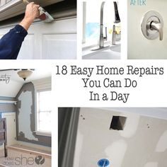 18 Easy Home Repairs  You Can Do in a Day It never fails, it seems like there's also a little home project to fix up, isn't there? We've been in our house for 4 years now and it seems like every time we turn around there's something that needs our attention. It's easier to tackle the small jobs before they turn into large ones! Here's some fantastic DIY Home Repairs that might just make those repairs easier for us all! 1. Fix any hole simply with this method. 2. Fix up hardwood floor ..