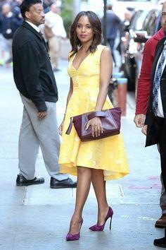 Kerry Washington, Scandal, Olivia Pope, robe jaune, mauve, streetstyle, casual, outfit, look