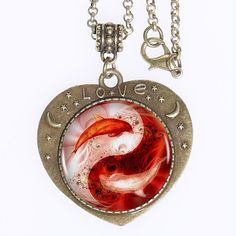 Find More Torques Information about 10pcs Red Yin Yang Dolphins Logo Bronze Pendant Necklace Tai Chi Charm Heartshaped Handmade  Necklace Women  Friend,High Quality yin yang,China necklace women Suppliers, Cheap handmade necklace from DreamFire Store on Aliexpress.com