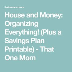 House and Money: Organizing Everything! (Plus a Savings Plan Printable) - That One Mom