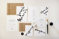 A wedding stationery suite with clean hand-drawn typography. A brush, some ink and not unimportantly, a steady hand!