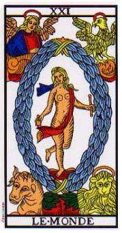 The World, a tarot card from the Tarot of Marseille