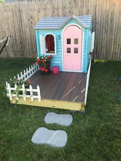 Playhouse DIY. Painted, add a deck and walkway. I would put my kids size Muskoka chairs on deck for the little ones too. So cute! #playhousediy