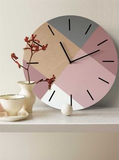 Scandi wall clock with pastel colors Minimalist wooden clock Pale purple and pale pink decor Geometric unique clock Personalized clock