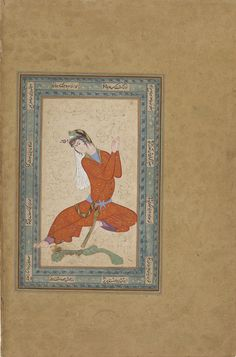 Seated woman spinning wool, Iran, Safavid period, early 17th century, Opaque watercolor and gold on paper