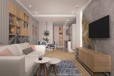 Rózsaszín szürke és fa felületek harmóniája egy fiatal lánynak tervezett 51m2-es lakásban